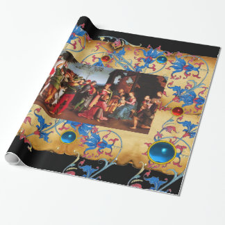 ADORATION OF MAGI CHRISTMAS FLORAL PARCHMENT, GEMS WRAPPING PAPER