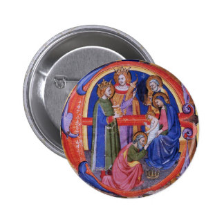 ADORATION OF MAGI CHRISTMAS NATIVITY PARCHMENT PINBACK BUTTONS