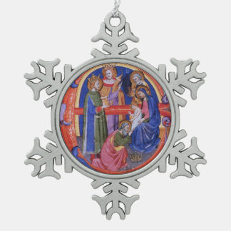 ADORATION OF MAGI CHRISTMAS NATIVITY PARCHMENT SNOWFLAKE PEWTER CHRISTMAS ORNAMENT