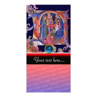 ADORATION OF MAGI CHRISTMAS PARCHMENT Blue Gem Photo Card