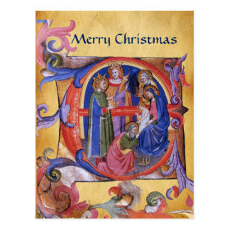 ADORATION OF MAGI CHRISTMAS PARCHMENT Red Gem Postcard