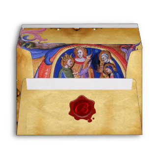 ADORATION OF MAGI CHRISTMAS PARCHMENT RED WAX SEAL ENVELOPE