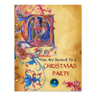 ADORATION OF MAGI FLORAL CHRISTMAS PARCHMENT CARD