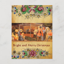 ADORATION OF MAGI, FLORAL CHRISTMAS PARCHMENT HOLIDAY POSTCARD