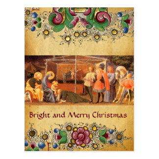 ADORATION OF MAGI, FLORAL CHRISTMAS PARCHMENT POSTCARD