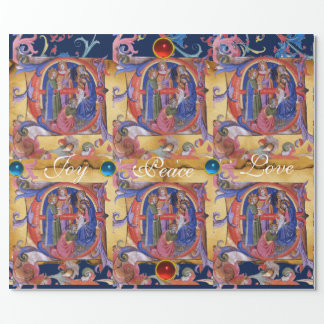 ADORATION OF MAGI FLORAL CHRISTMAS PARCHMENT WRAPPING PAPER