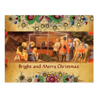 ADORATION OF MAGI, GOLD FLORAL CHRISTMAS PARCHMENT POSTCARD