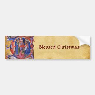 ADORATION OF MAGI NATIVITY CHRISTMAS PARCHMENT BUMPER STICKER