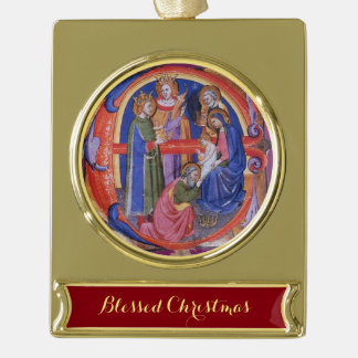 ADORATION OF MAGI NATIVITY CHRISTMAS PARCHMENT GOLD PLATED BANNER ORNAMENT