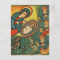 ADORATION OF MAGI, NATIVITY CHRISTMAS PARCHMENT HOLIDAY POSTCARD