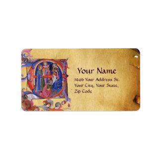ADORATION OF MAGI NATIVITY CHRISTMAS PARCHMENT LABEL
