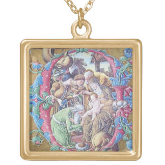 ADORATION OF MAGI , NATIVITY MONOGRAM WITH DOLPHIN GOLD PLATED NECKLACE