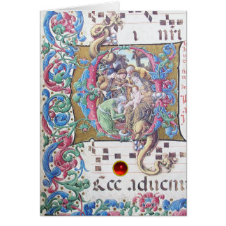 ADORATION OF MAGI , NATIVITY MONOGRAM WITH DOLPHIN GREETING CARD