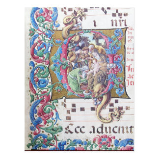 ADORATION OF MAGI , NATIVITY MONOGRAM WITH DOLPHIN POSTCARD