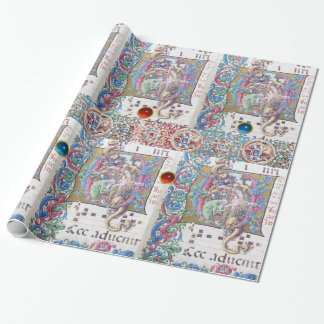 ADORATION OF MAGI , NATIVITY MONOGRAM WITH DOLPHIN WRAPPING PAPER