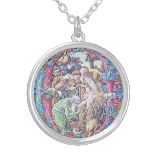 ADORATION OF MAGI NATIVITY MONOGRAM WITH PEARLS SILVER PLATED NECKLACE