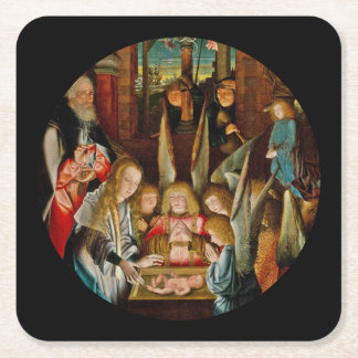 Adoration of the Angels Square Paper Coaster