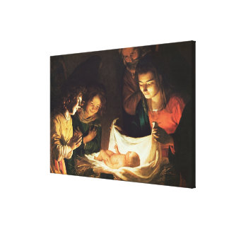 Adoration of the baby, c.1620 canvas print