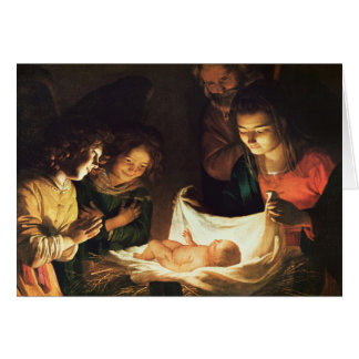 Adoration of the baby, c.1620 card
