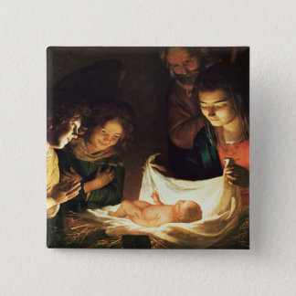 Adoration of the baby, c.1620 pinback button