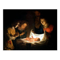Adoration of the Child Jesus - Honthorst Postcard