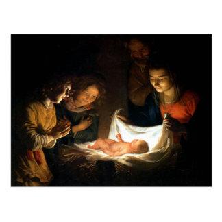 Adoration of the Child Jesus - Honthorst Postcard