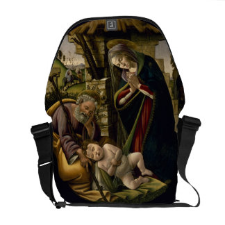 Adoration of the Christ Child by Botticelli Messenger Bags