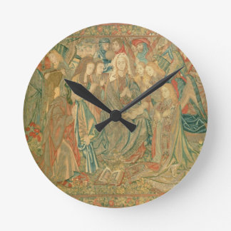 Adoration of the Christ child  (Tapestry) Round Clock