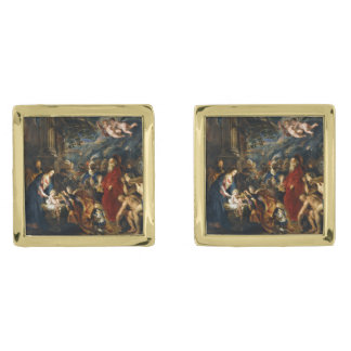 Adoration of the Kings by Ruben Gold Finish Cufflinks