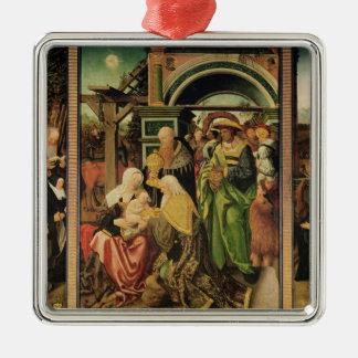 Adoration of the Magi 2 Square Metal Christmas Ornament