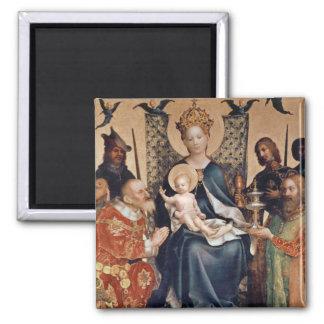 Adoration of the Magi altarpiece 2 Inch Square Magnet