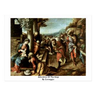Adoration Of The Magi By Correggio Postcard