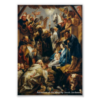 Adoration of the Magi by Jordaens Poster
