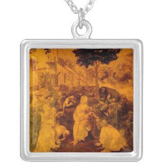Adoration of the Magi by Leonardo Da Vinci Square Pendant Necklace