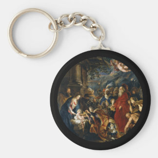 Adoration of the Magi by Rubens Basic Round Button Keychain