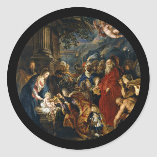 Adoration of the Magi by Rubens Classic Round Sticker