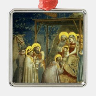 Adoration of the Magi, c.1305 Square Metal Christmas Ornament