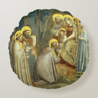 Adoration of the Magi, c.1305 Round Pillow