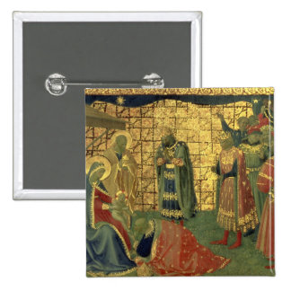 Adoration of the Magi, detail from a predella pane 2 Inch Square Button
