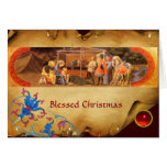 ADORATION OF THE MAGI Floral Parchment, Red Ruby Card