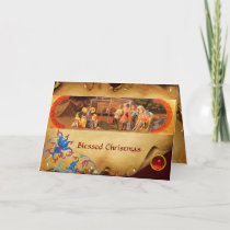 ADORATION OF THE MAGI Floral Parchment, Red Ruby Holiday Card