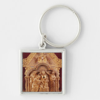 Adoration of the Magi, gabled end Silver-Colored Square Keychain