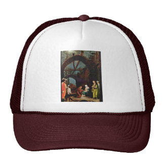Adoration Of The Magi In The Snow By Huber Wolf Mesh Hat