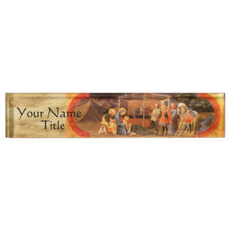 ADORATION OF THE MAGI NATIVITY PARCHMENT NAMEPLATE