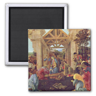 Adoration of the Magi (Washington) by Botticelli 2 Inch Square Magnet