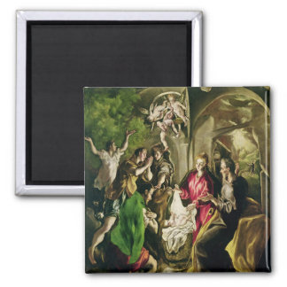 Adoration of the Shepherds, 1603-05 2 Inch Square Magnet