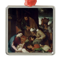 Adoration of the Shepherds, 1630 Metal Ornament