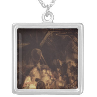 Adoration of the Shepherds, 1646 Square Pendant Necklace