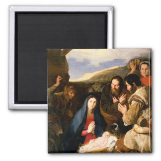 Adoration of the Shepherds, 1650 2 Inch Square Magnet