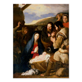 Adoration of the Shepherds, 1650 Poster
